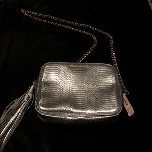 Victoria's Secret silver crossbody or shoulder bag
